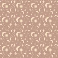 Magic vintage seamless pattern  boho with sun, moon, star isolated on beige background. Vector flat illustration. Bohemian design for wrapping, textile, wallpaper, backdrop, packaging