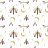 magia de patrones sin fisuras boho mariposa, polilla, libélula con luna, estrella, ojo aislado sobre fondo blanco. vector ilustración plana. envoltura de diseño bohemio, textil, papel pintado, telón de fondo, embalaje