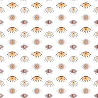 Magic vintage seamless pattern  boho eye with moon, star isolated on white background. Vector flat illustration. Bohemian design for wrapping, textile, wallpaper, backdrop, packaging