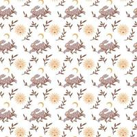 Magic vintage seamless pattern  boho rabbit with moon, star, leaves isolated on white background. Vector flat illustration. Bohemian design for wrapping, textile, wallpaper, backdrop, packaging
