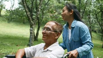 abuelo en silla de ruedas con nieta disfrutando de la naturaleza en el parque. vida familiar de vacaciones. video