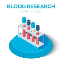 Blood samples isometric icon. Blood research. Vacuum tubes for collecting blood samples in the laboratory. Medical equipment. vector