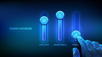 Energy sources control panel for fossil fuel, nuclear fuels and renewable energies. Energy industry sectors concept. Wireframe hand adjust a energy sources mixer. Mixing console. vector