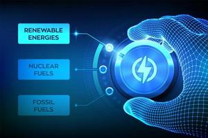 Energy industry sectors. Wireframe hand turning an energy transition button to switch from fossil fuels to renewable energies. Electric power generation via sustainable sources. vector