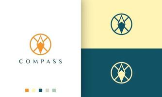 expedition or adventure logo with a simple and modern compass circle shape vector