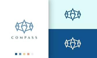 ship or adventure logo vector design with simple and modern compass shape