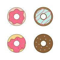 Set of Donuts Flat Vector Icons