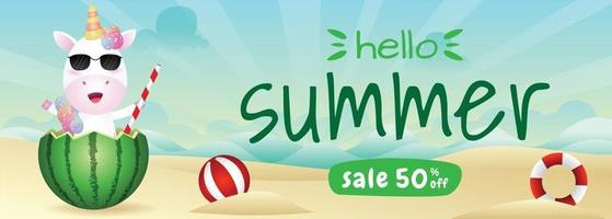 summer sale banner with a cute unicorn in the watermelon vector