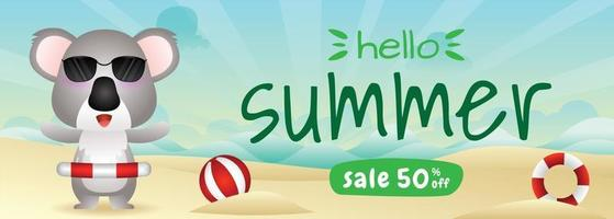 summer sale banner with a cute koala using lifebuoy ring vector