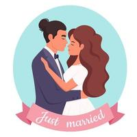 Wedding couple. Man and woman getting married, newlyweds. Wedding portrait. vector