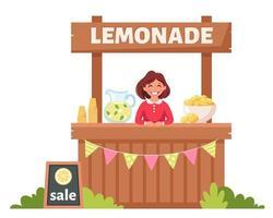 niña vendiendo limonada fría en puesto de limonada. bebida fría de verano. vector