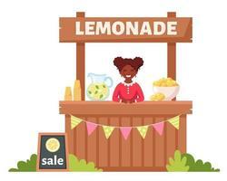 afroamericana vendiendo limonada fría en puesto de limonada. bebida fría de verano. vector