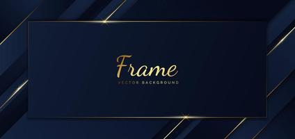 Abstract template blue frame stripes golden lines diagonal overlap background. Luxury style. vector
