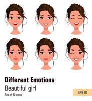 mujer con diferentes expresiones faciales. vector