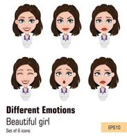 Business woman with different face expressions vector