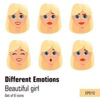 Blonde woman with different face expressions vector