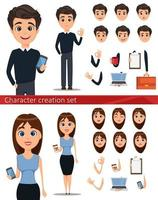Business man and business woman cartoon characters vector