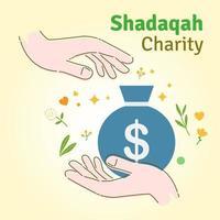 Shadaqah Charity flat vector illustration