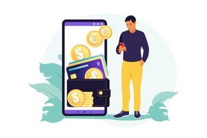 Digital wallet concept. Young wealthy man pays card using mobile payment. Vector illustration. Flat.