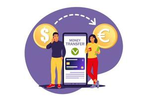 Currency conversion concept. Mobile bank users transferring money. Online payment. Vector illustration. Isolated flat.