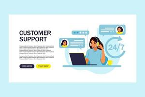 Customer support concept. Woman hotline operator advises clients. Online technical support. Landing page template. Vector illustration. Flat.