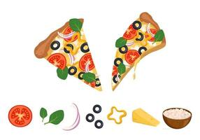 A slice of pizza with melted dripping cheese, tomatoes, olives and basil and ingredients for cooking. Bright, delicious Italian fast food with vegetables. National bright cuisine vector