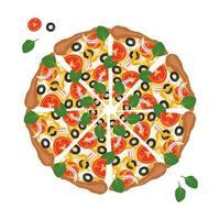 pizza redonda cortada en rodajas con queso, tomate, aceitunas y albahaca. comida italiana brillante y deliciosa con masa y verduras. vector