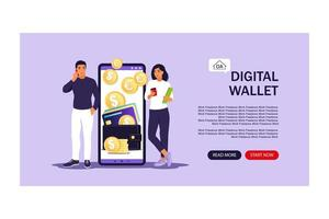 Digital wallet concept. Landing page. Young people pays card using mobile payment. Vector illustration. Flat.