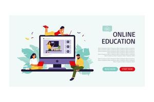 Online education concept. Landing page template. Vector illustration. Flat