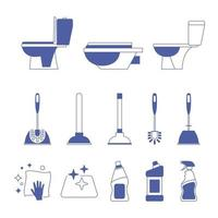 Toilet icon. Restroom. Toilet brush and plunger. Plumbing service. Household chemical bottles. Sanitizing surfaces. Cleaning napkin. Sanitation and hygiene sign. Equipment in cleaning bathroom vector
