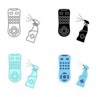 Sanitizing of TV remote. Remote disinfection. Disinfection of TV clicker using medical sanitizer. Sanitizing home items of daily use. Preventing virus spread concept. Antibacterial spray vector