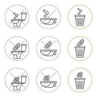 Do not litter in the toilet. Toilet no trash. Keeping the clean. Please do not flush paper towels, sanitary products, medical masks. No littering, warning symbol. Forbidden icon. Vector