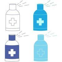 spray antibacteriano. dispensador de alcohol en gel. concepto de control de infecciones. desinfectante para prevenir resfriados, virus, coronavirus, gripe. antiséptico. Botella con alcohol líquido en color azul. vector