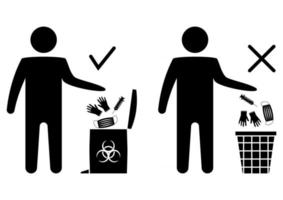 Disposal of medical mask, gloves and surgical. The man throws the medical trash. Biohazard waste disposal. How to remove disposable gloves and mask safely. Forbidden symbol. Vector