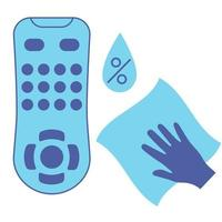 Sanitizing of TV remote. Cleaning remote control, color blue vector icon. Disinfection of TV clicker using antibacterial napkin. Preventing virus spread concept. Antibacterial wipe. Vector