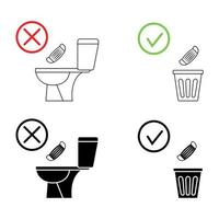 Do not litter in the toilet. Toilet no trash. Keeping the clean. Please do not flush mask, sanitary products, icons. Prohibition icons. No littering, warning symbol. Forbidden icon vector