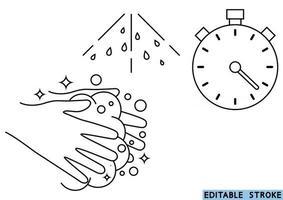 lavarse las manos durante 30 segundos con jabón bajo agua corriente .. lavarse las manos, icono. icono de línea fina de procedimiento de lavado de manos. trazo editable. esenciales de higiene diaria. vector