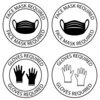 Safety gloves are required. Face mask required warning, prevention sign. Do not enter without face covering and gloves. Mask is required round symbol. Preventing virus spread concept. Vector
