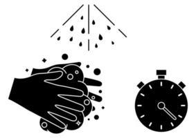 lavarse las manos durante 30 segundos con jabón bajo agua corriente .. lavarse las manos, icono. icono de glifo de procedimiento de lavado de manos. esenciales de higiene diaria. ilustración vectorial aislado vector