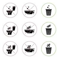 Do not litter in the toilet. Toilet no trash. Keeping the clean. Please do not flush paper towels, sanitary products, medical masks. Prohibition icons. No littering, warning symbol vector