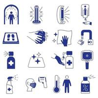Coronavirus blue icons. Cleaning and sanitizer surface, wash hand gel, UV lamp, sanitizing mat, infrared thermometer, dispenser, disinfection tunnel. Coronavirus rules and prevention icons set vector