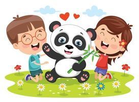 niños jugando con panda vector