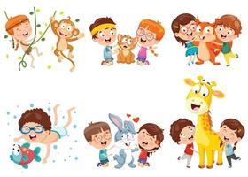 Children And Cartoon Animals vector