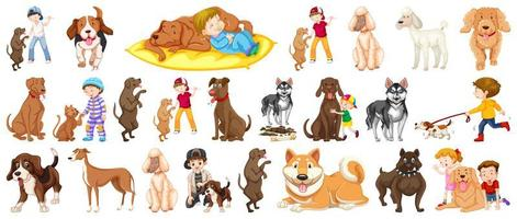 Set of dogs as family pets vector