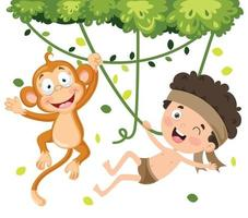 Children Playing With Monkey vector