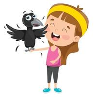 Little Kid Playing With Crow vector