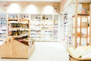 Desenfoque abstracto y supermercado desenfocado foto