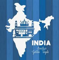 indian amritsar golden temple with map background vector