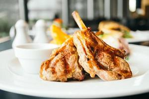 Grilled lamb steaks photo