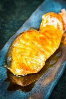 Grilled salmon with teriyaki sweet sauce photo
